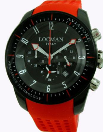 500 locman aviatore crono pvd nero cinturino rosso