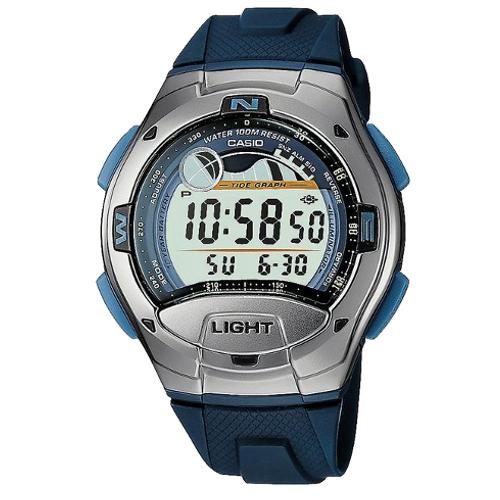 casio W-753-2AVES collection orologio fasi luna e marea con cinturino in resina blu