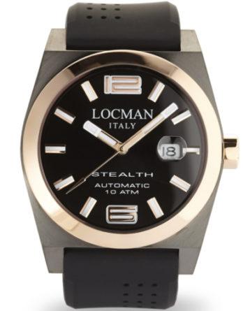 locman stealth 43 mm automatico 0205GRBKF5N0SIK cassa con accenti rose gold cinturino silicone nero a