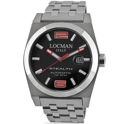 locman stealth automatico 43 mm 020500BKNRD0BR0 quadrante nero bracciale acciaio