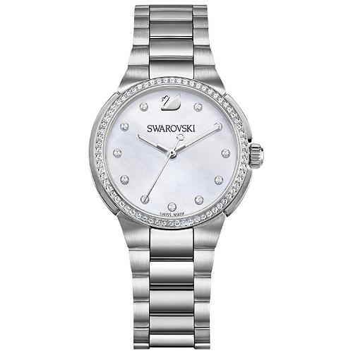 500 Swarovski-City-Mini-Watch-Metal-bracelet-Mother-of-pearl-Silver-tone-5221179-W600