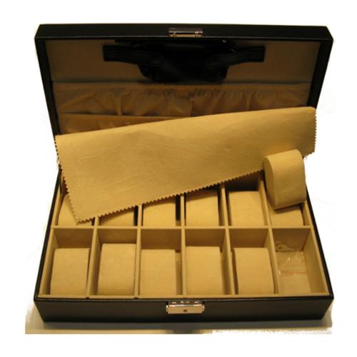 Porta orologi scatola 12 posti in ecopelle black ref ca012 watch you want - Porta orologi ikea ...