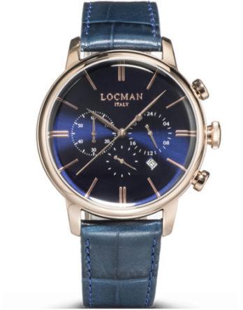 locman 1960 crono cassa PVD rose gold quadrane e cinturino blu 0254R02R-RRBLRGPB a