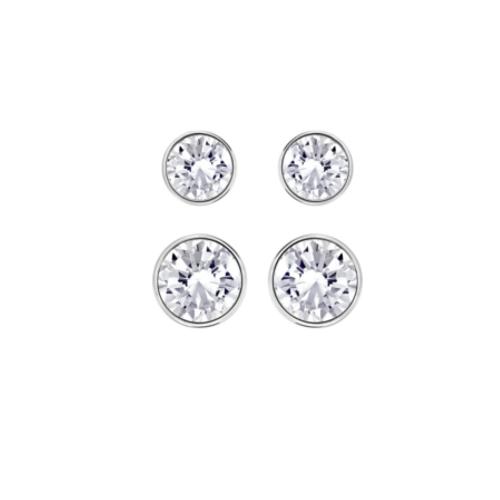 372f2185126555 Set di 4 orecchini Swarovski rodiati oro bianco con solitario cristallo  chiaro