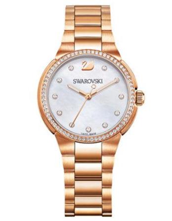 orologio swarovski 5221176 city-mini- bracciale acciaio rose gold quadrante madreperla con cristalli agli indici e lunetta con cristalli applicati