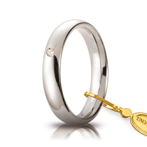 unoaerre comoda oro bianco 4 mm con diamante