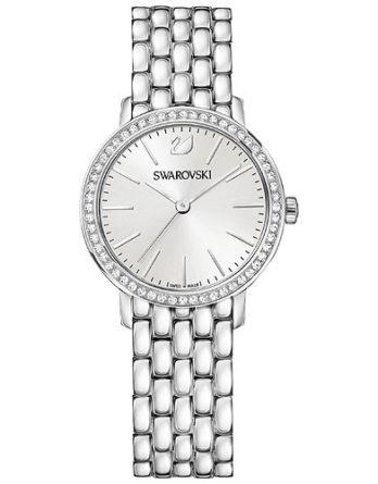Orologio per donna con bracciale e cassa in acciaio e 54 cristalli chiari sulla ghiera
