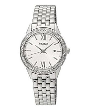 seiko SUR691P1 orologio donna con bracciale acciaio, quadrante argenté, cristalli incastonati tutto intorno sulla lunetta
