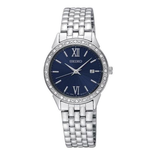 seiko SUR691P1 orologio donna con bracciale acciaio, quadrante blu, cristalli incastonati tutto intorno sulla lunetta