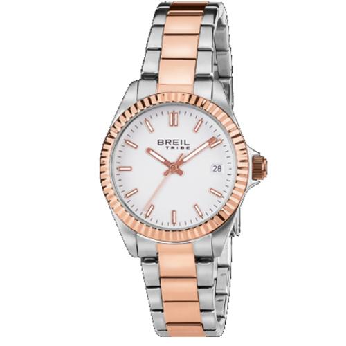 breil EW0240 Classic Elegance orologio solo tempo donna bracciale acciaio bicolore oro rosa quadrante bianco