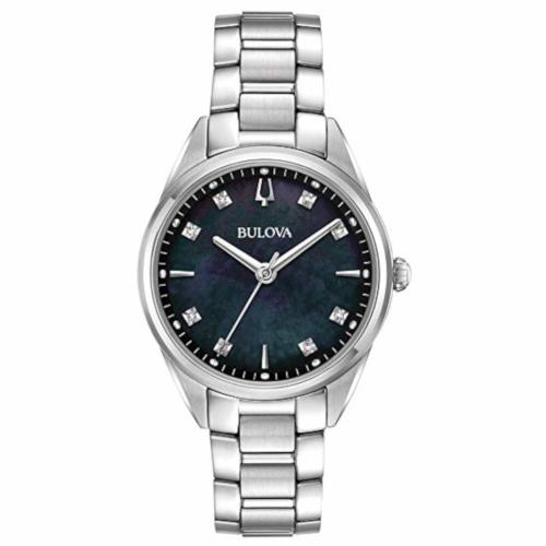 bulova 96P198 orologio solo tempo donna quadrante madreperla nero con diamanti agli indici e bracciale acciaio