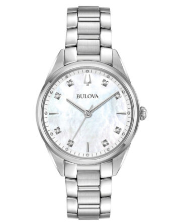 bulova 96P199 orologio solo tempo donna quadrante madreperla bianco con diamanti agli indici e bracciale acciaio