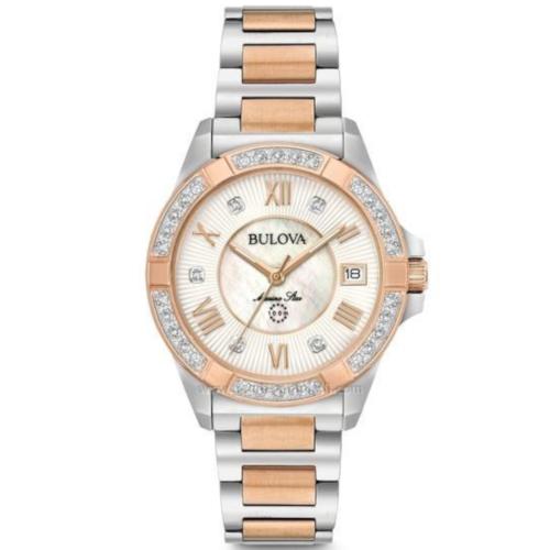bulova 98R234 Marine Star orologio solo tempo donna quadrante madreperla bianco con diamanti agli indici e sulla ghiera - bracciale acciaio con maglie PVD oro gold