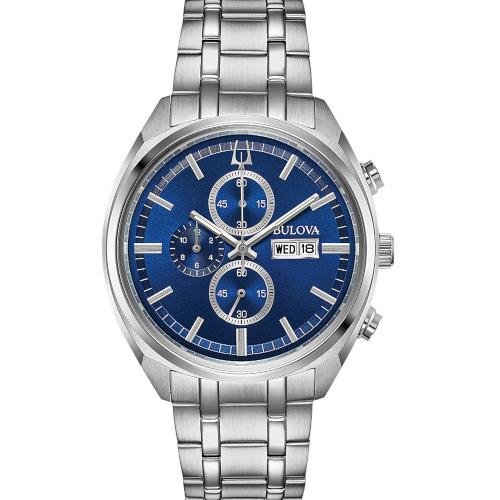 bulova crono day date classic 96c136 quadrante blu bracciale acciaio