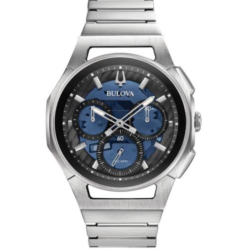 orologio bulova crono curv 96A205 cinturino acciaio e quadrante blu
