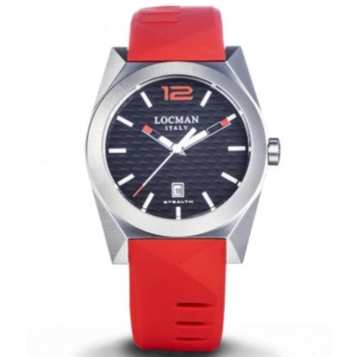locman new stealth 0810a01s-00bkrdsr quadrante nero cassa acciaio cinturino silicone rosso