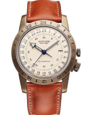 glycine the chief purist orario su 24 ore cassa acciaio finitura vintage quadrante beige cinturino pelle marrone