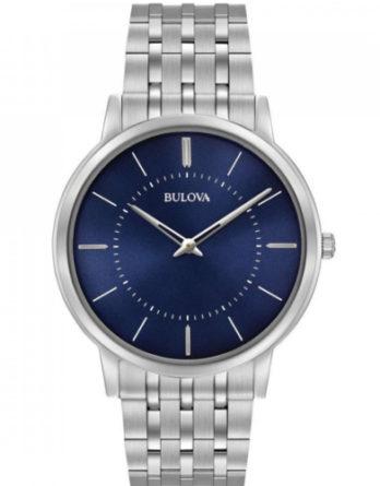 bulova 96A188 ultrapiatto solo tempo con quadrante blu e bracciale acciaio
