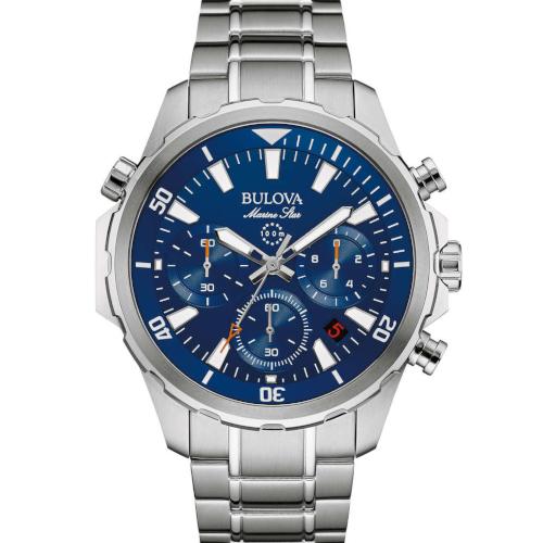 bulova 96B256 crono marine star quadrante blu e bracciale acciaio