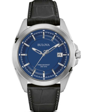 bulova 96B257 precisionist solo tempo quadrante blu cassa acciaio cinturino pelle nero