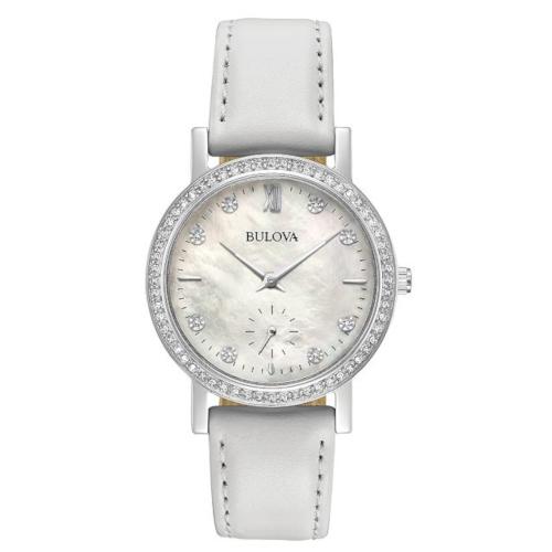 bulova 96L245 orologio solo tempo donna quadrante madreperla bianco con cristalli sulla ghiera e agli indici cinturino pelle bianco
