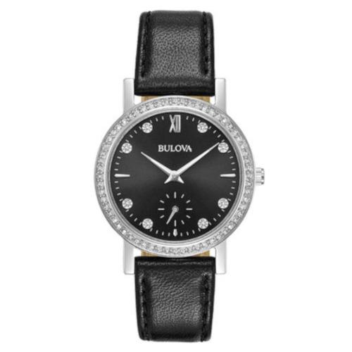 bulova 96L245 orologio solo tempo donna quadrante nero con cristalli sulla ghiera e agli indici cinturino pelle nero
