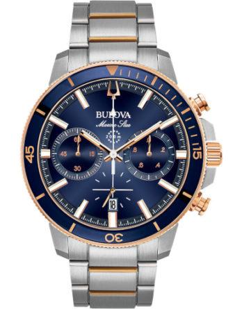 bulova crono marine star 98B301 quadrante blu particolari oro rosso bracciale acciaio
