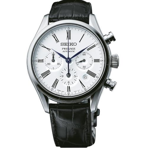 seiko srq023j1 cronografo automatico quadrante bianco smalatato indici romani movimento 8R48