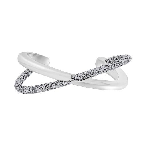 swarovski crystaldust cross 5368485 bracciale incrociato grigio e rodio bianco