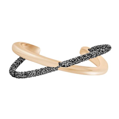 swarovski crystaldust cross 5368487 bracciale incrociato nero e oro rosso