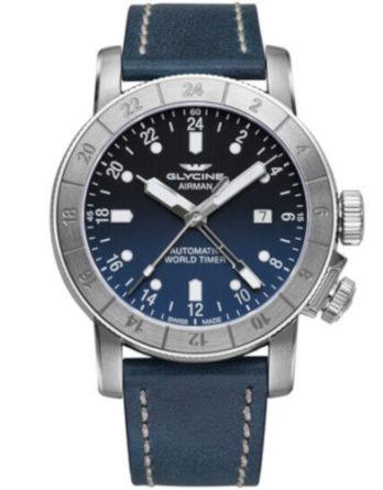 glycine airman GMT GL0054 cinturino pelle blu quadrante blu