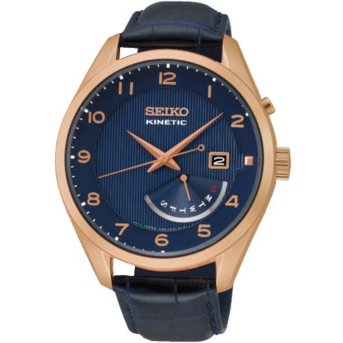 SEIKO SRN062P1 Kinetic quadrante blu cassa pvd rose gold cinturino pelle blu stampa coccodrillo