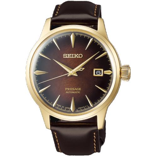 a Seiko SRPD36J1 Presage limited 8000 quadrante ambra cassa dorata cinturino pelle marrone