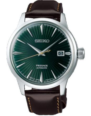 a Seiko SRPD37J1 Presage quadrante verde cassa acciaio cinturino pelle marrone