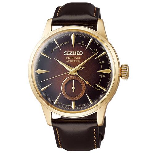 a Seiko SSA392J1 Presage limited 8000 quadrante ambra riserva di carica cassa dorata cinturino pelle marrone