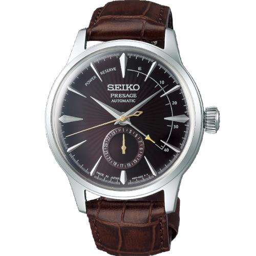 a Seiko SSA393J1 Presage quadrante marrone cassa acciaio cinturino pelle marrone a