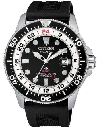 citizen BJ7110-11E supertitanio GMT Eco Dirve con cinturino in gomma nero