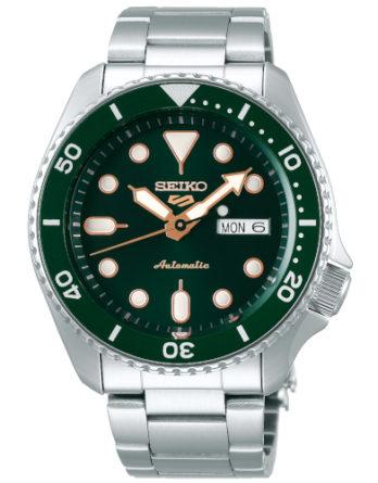 seiko 5 SRPD63K1 quadrante e ghiera verde bracciale acciaio