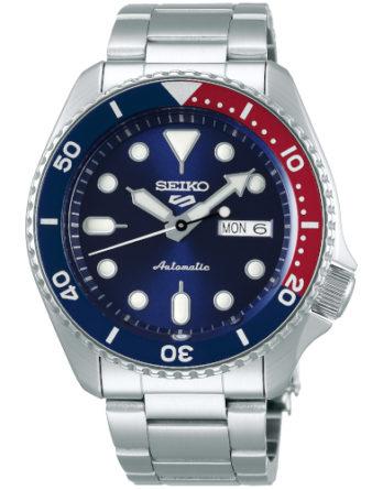 seiko 5 SRPD53K1 quadrante blu ghiera pepsi blu e rossa bracciale acciaio
