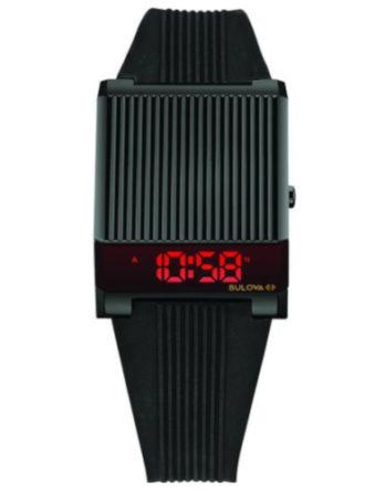 bulova computron 98C135 nero cinturino gomma led rosso