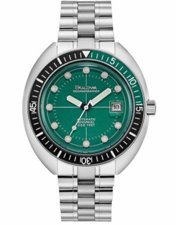 bulova oceanographer 96B322 quadrante verde ghiera nera con quarto veerde e bracciale acciaio