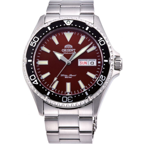 orient RA-AA0003R19B Mako Kamasu quadrante rosso ghiera nera bracciale acciaio