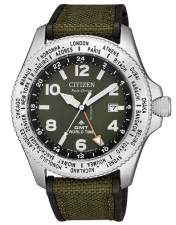 citizen BJ7100-23X orologio GMT eco drive quadrante verde cinturino verde in tessuto tecnico