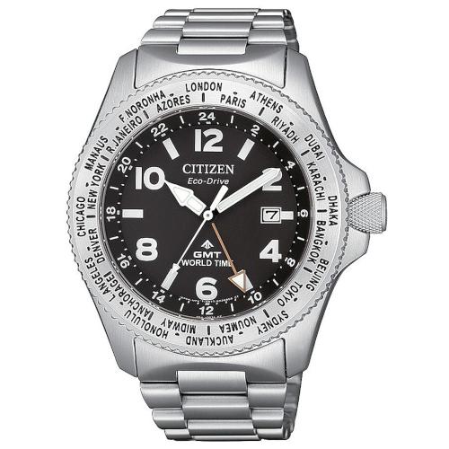 citizen BJ7100-82E orologio GMT eco drive cassa e bracciale acciaio quadrante nero