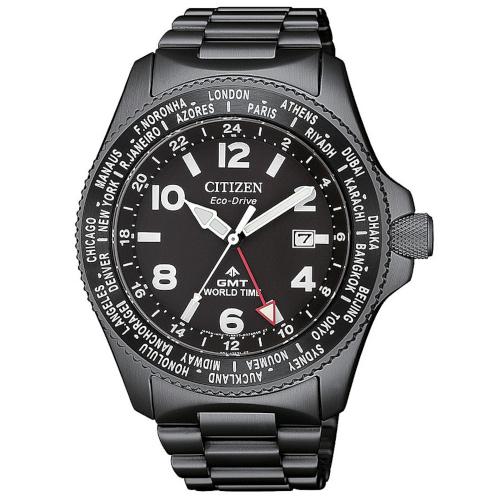 citizen BJ7107-83E orologio GMT eco drive cassa e bracciale PVD nero quadrante nero