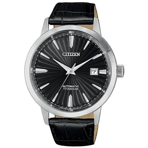 citizen NJ2180-46E super titanio automatico quadrante nero cinturino pelle nero