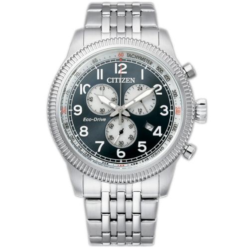 citizen AT2430-89L orologio uomo collezione ore felici 2020 cronografo quadrante petrolio bracciale acciaio