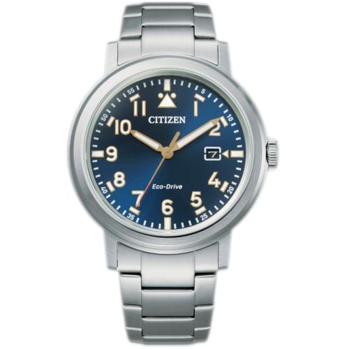 citizen AW1620-81L orologio uomo collezione ore felici 2020 military solo tempo quadrante blu bracciale acciaio