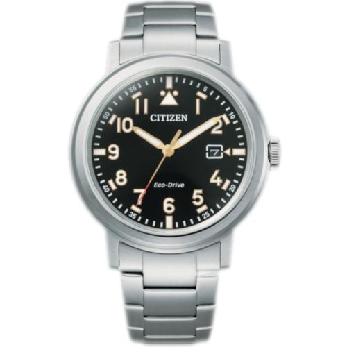 citizen AW1620-81L orologio uomo collezione ore felici 2020 military solo tempo quadrante nero bracciale acciaio