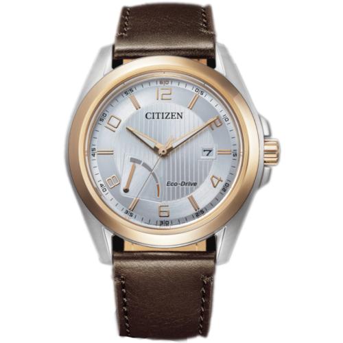 citizen AW7056-11A orologio uomo collezione ore felici 2020 solo tempo quadrante silver con riserva di carica cinturino pelle marrone